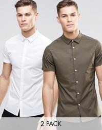 Набор из 2 облегающих рубашек белого цвета и цвета хаки с короткими ру Asos