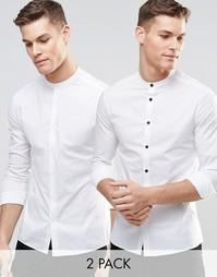 2 белые зауженные рубашки с длинными рукавами и воротником на пуговице Asos