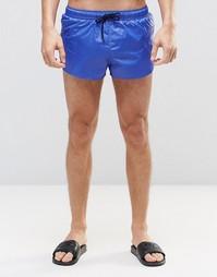 Суперукороченные шорты для плавания с мокрым эффектом ASOS - Синий