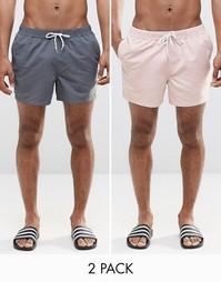 Набор из 2 коротких шортов для плавания розового и серого цвета ASOS,