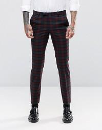 Супероблегающие брюки стретч с принтом тартан Noose & Monkey