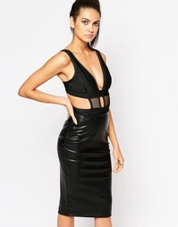 WOW Couture Mesh Insert Cut Out Body - Черный
