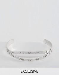 Серебристый двойной браслет с гравировкой Reclaimed Vintage