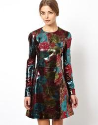Кожаное платье мини с объемным цветочным принтом ASOS BLACK - Мульти