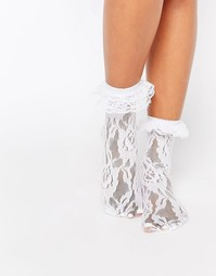 Кружевные носки с оборками Leg Avenue - Белый