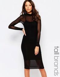 Облегающее платье из сеточки с длинным рукавом Noisy May Tall - Черный