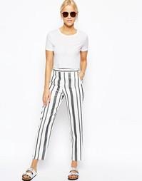 Прямые брюки в полоску ASOS Premium - Черно-белые полоски