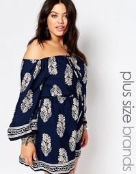 Фестивальное платье с принтом Missguided Plus - Темно-синий
