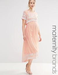 Платье миди асимметричной длины с вышивкой для беременных Maya Materni