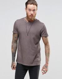 Удлиненная футболка из вафельной ткани с закругленной кромкой сзади AS Asos