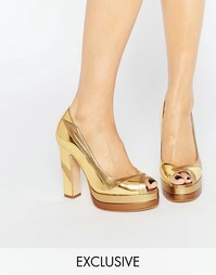 Золотистые туфли на каблуке с открытым носком Terry de Havilland Luna