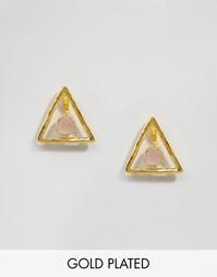 Треугольные серьги с розовым кварцем Ottoman Hands - Золотой