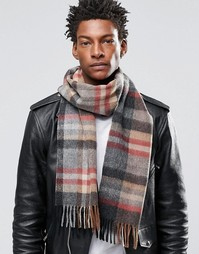 Серый шарф из овечьей шерсти ASOS - Серый
