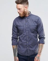 Рубашка в стиле вестерн зауженного кроя Wrangler - Серо-стальной