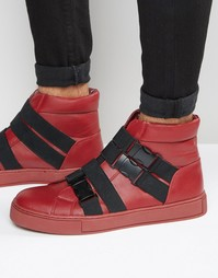 Красные высокие кеды с черными эластичными ремешками ASOS - Красный