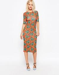 Облегающее платье миди со сплошным принтом кактусов House of Holland