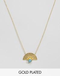 Ожерелье с синим агатом Ottoman Hands - Золотой