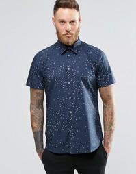 Рубашка слим с короткими рукавами и принтом Paul Smith - Темно-синий