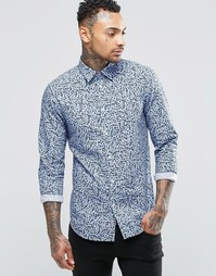 Рубашка с принтом черепа и цветов Diesel S-Blu - Темно-синий