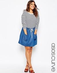 Джинсовая юбка‑клеш с завышенной талией и карманами ASOS CURVE - Синий