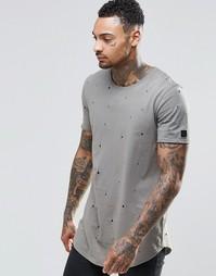 Удлиненная футболка с эффектом поношенности Black Kaviar - Хаки