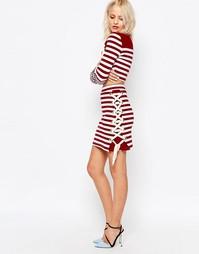Полосатая юбка со шнуровкой по краю House of Holland - Maroon