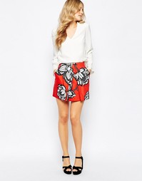 Мини-юбка с цветочным принтом Finders Keepers Flashback - Красный