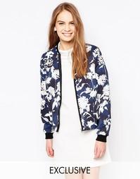 Куртка-пилот с принтом Helene Berman - Многоцветный темно-синий