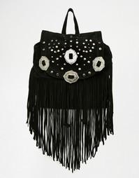 Замшевый рюкзак в стиле вестерн с бахромой ASOS - Черный