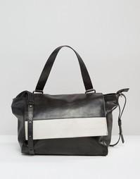 Кожаная сумка на плечо с контрастным откидным клапаном Urbancode