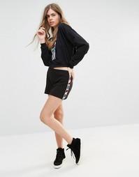 Мини-юбка с отделкой бисером Anna Sui - Черный