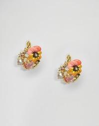 Серьги-гвоздики с цветочками Les Néréides - Мульти