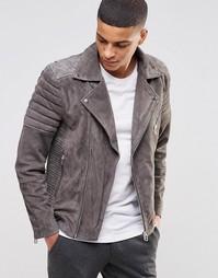 Замшевая байкерская куртка Selected - Серый