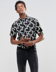 Рубашка узкого кроя с принтом в виде цепочек из сердечек Paul Smith