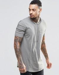 Удлиненная футболка с завязкой на шее Black Kaviar - Хаки