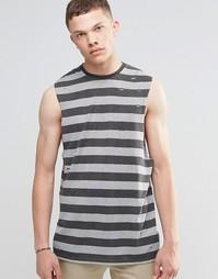 Удлиненная футболка из ткани под лен в полоску без рукавов ASOS