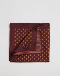 Шелковый платок для пиджака в горошек и полоску Paul Smith - Красный