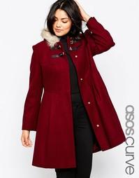 Приталенное пальто с искусственным мехом на капюшоне ASOS CURVE - Хаки