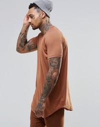 Удлиненная футболка Other UK - Красно-бурый