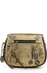 Сумка из металлизированной кожи с декоративной отделкой Marc Jacobs