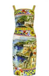 Шелковое платье-футляр с ярким принтом Dolce & Gabbana