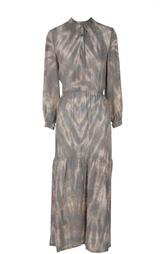 Приталенное шелковое платье с круглым вырезом и принтом Raquel Allegra