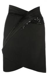 Мини-юбка асимметричного кроя с пайетками Blumarine