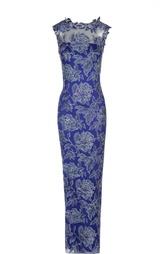 Кружевное приталенное платье в пол Tadashi Shoji