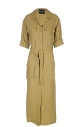 Платье-макси с поясом и накладными карманами Erika Cavallini