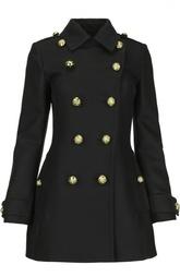 Двубортное приталенное пальто с декоративной отделкой Burberry Brit