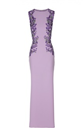 Платье-футляр в пол с цветочной вышивкой Tadashi Shoji