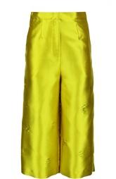 Укороченные прямые брюки с декоративной отделкой Erika Cavallini