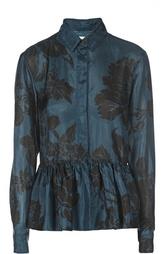 Шелковая блуза с баской и цветочным принтом Dries Van Noten