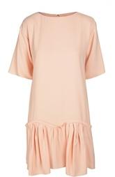 Мини-платье с широкой оборкой и вырезом-лодочка Chloé